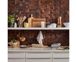 Mosaic Wooden Panelling, Oak Brown