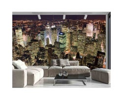 15 ft. x 10 ft. Manhattan at Night Wallpaper Mural