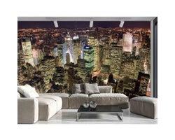 12 ft. x 8 ft. Manhattan at Night Wallpaper Mural