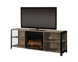 Asher Media Console with Electric Fireplace, 1500 W Logs, Tudor Oak