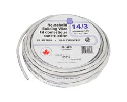 Interior Electrical Wire NMD-90, 14/3 White 30 m