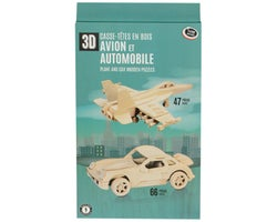 3D Wooden Plane and Car Puzzle