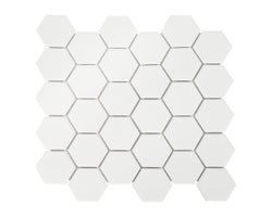 White Hexagon Ceramic Wall Tile 12 in. x 12 in.