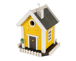 Yellow Cottage Bird House 11 in.