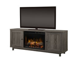 Jesse Media Console with Electric Fireplace, 1500 W Logs, Iron Mountain