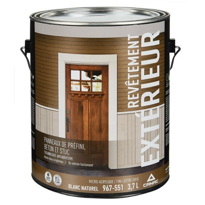 Canac Low Sheen Exterior Latex Paint Natural White & Colours 3.7 L