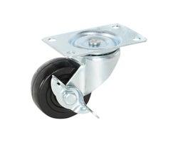 Roulette robuste pivotante/frein en caoutchouc 2 1/2po