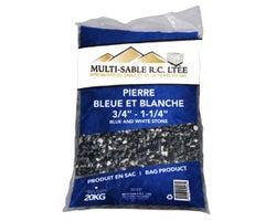 Pierre décorative bleue et blanche 3/4 po à 1-1/4 po 20 kg