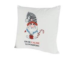 Cushion «On se calme le pompon!» 173/4in.