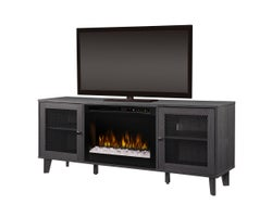 Dean Media Console with Electric Firplace, 1500 W Crystals, Wrought Iron