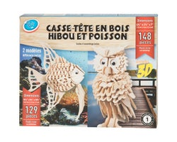 3D Wooden Owl & Fish Puzzles