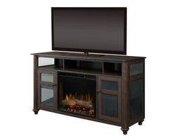 Xavier Media Console with Electric Fireplace , 1500 W Logs, Brown