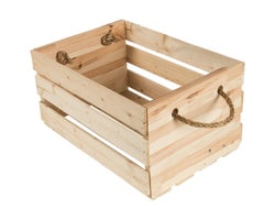 Wood Crate with Rope Handles