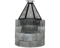 Concrete Block Fireplace with Fire Screen