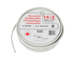 Interior Electrical Wire NMD-90, 14/2 White 10 m