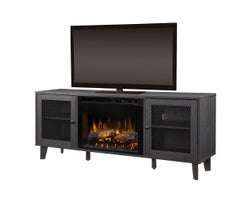 Dean Media Console with Electric Fireplace, 1500 W Logs, Wrought Iron
