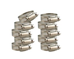 All-Stainless Steel Clamps - 1 in. - 2 in. , (10-Pack)