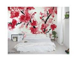 10-1/2 ft. x 8 ft. Cherry Blossom Aquarelle Wallpaper Mural