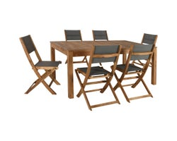 Ensemble de meubles de jardin Acacia, 7 morceaux