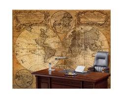 9 ft. x 7 ft. Old Map Wallpaper Mural