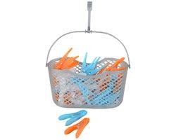 Panier et épingles à linge en plastique (36 épingles)