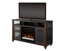 Xavier Media Console with Electric Fireplace, 1500 W Crystals, Brown