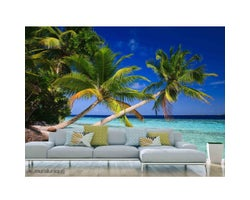 12 ft. x 8 ft. Palm Trees in the Maldives Wallpaper Mural