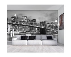 9 ft. x 6 ft. Brooklyn Bridge at Night Wallpaper Mural in Black and White