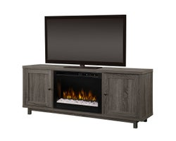 Jesse Media Console with Electric Fireplace, 1500 W Crystals, Iron Mountain