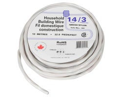 Interior Electrical Wire NMD-90, 14/3 White 10 m