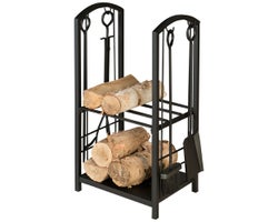 4-Piece Fireplace Tool Set & Log Rack