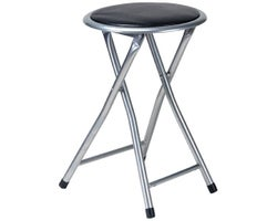 Black Cushioned Folding Stool