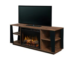 Arlo Media Console with Electric Fireplace, 1500 W, Logs, Tan Walnut