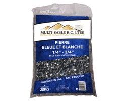 Pierre décorative bleue et blanche 1/4 po à 3/4 po 20 kg