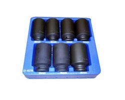 7-Piece 1/2 Drive Deep Spindle Nut, Impact Socket Set