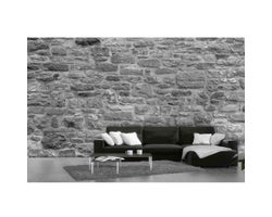 13-1/2 ft. x 9 ft. Grey Stone Wall Wallpaper Mural
