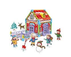 3D Puzzle to Colourable Winter Chalet (85 Pieces)